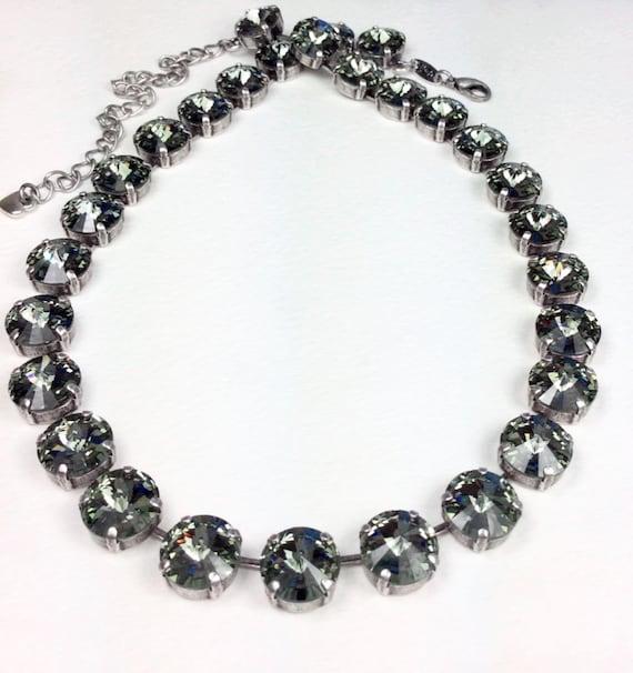 Swarovski Crystal 12MM Radiant Black Diamond Necklace - Designer Inspired  - Stunning & Classy - - FREE SHIPPING
