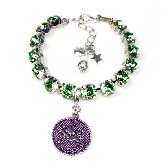 Swarovski Crystal 8.5mm -August/Leo Birthstone Bracelet With Zodiac Charm  Beautiful Birthday Gift ! - Peridot Birthstone - FREE SHIPPING