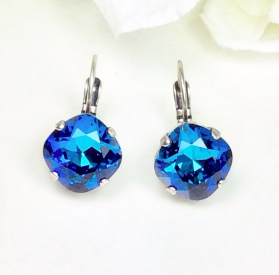 Swarovski Crystal 12MM Cushion Cut, Lever- Back Drop Earrings - Designer Inspired - Bermuda Blue - FREE SHIPPING