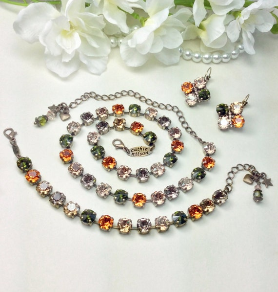 """Swarovski Crystal 8.5mm Necklace, Bracelet & Earrings  - Fall  Colors - Designer Inspired  """"Harvest Moon"""" - New Fall Shades - FREE SHIPPING"""