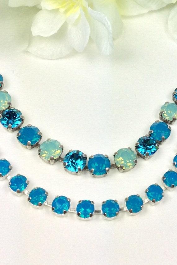 "Swarovski Crystal 8.5mm Bracelets    ""Caribbean Blues""  - Beautiful! -   Designer Inspired - FREE SHIPPING"