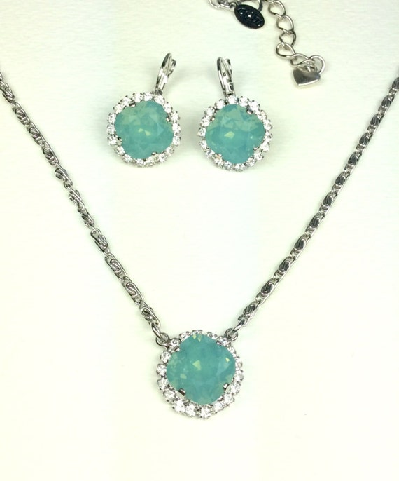 Swarovski Crystal 12MM Necklace Earring Set- Cushion Cut Pendant With Crystal Halo and Matching Earrings - Designer Inspired - FREE SHIPPING