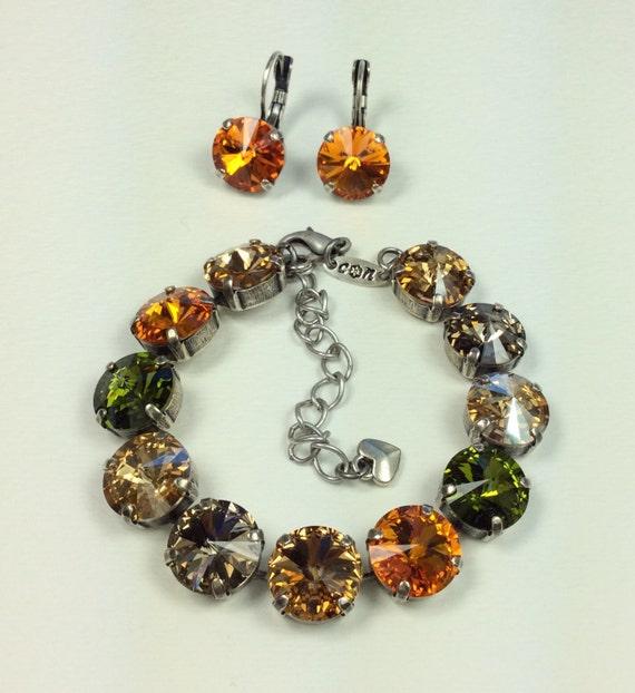 Swarovski Crystal 12MM Bracelet / Earrings  -  Designer Inspired -  Tangerine, Olive & Golden- Fall Shades  FREE SHIPPING