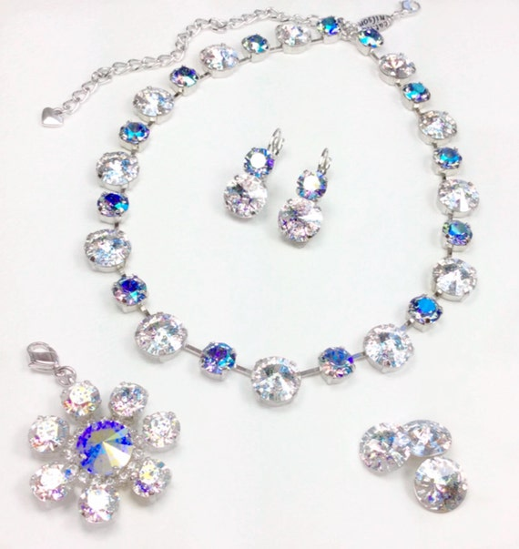 Swarovski Crystal 12MM/8.5mm Necklace - Winning Style! - Stunning Crystal White Patina , Lt. Sapphire AB - Sparkle & Shimmer - FREE SHIPPING