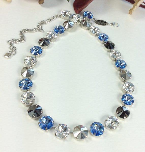 Swarovski Crystal 12MM Necklace - Designer Inspired - Lt. Sapphire, Crystal, Silver and Hematite -  Sparkle & Shimmer - SALE - FREE SHIPPING