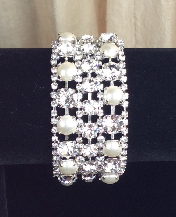 Swarovski Triple Row Crystal & Pearl Bracelet and Earrings - Designer Inspired -  Absolutely Stunning Bridal Cuff -  Classy - FREE SHIPPING