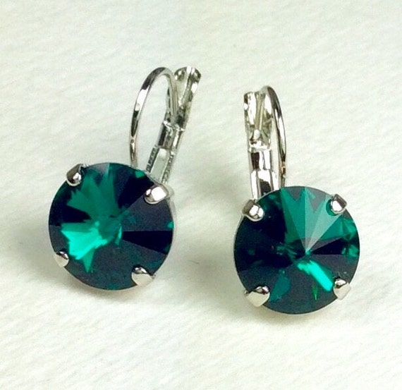 Swarovski Crystal 12MM Drop Earrings Classy & Feminine - Emerald - Or Choose Your Favorite Color and Finish -  - FREE SHIPPING