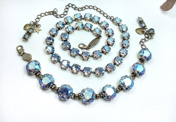 Swarovski Crystal 12MM Cushion Cut Deco Style Bracelet/8mm Necklace -Designer Inspired - Sparkling - Light Sapphire Shimmer - FREE SHIPPING