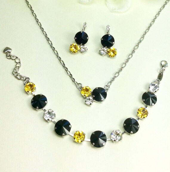Swarovski Crystal 12MM/8.5mm/6mm Pendant,Bracelet, Earrings - Gold, Jet & Crystal - Pittsburgh STEELERS Colors -  FREE SHIPPING
