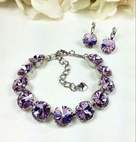 Swarovski Crystal 12MM Bracelet & Earrings   Designer Inspired - Radiant Violet - Classy - Beautiful Bridesmaid Gift - SALE - FREE SHIPPING