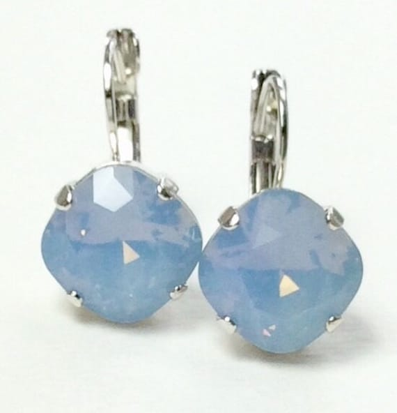 Swarovski Crystal 12MM Cushion Cut, Lever- Back Drop Earrings -  Designer Inspired - Air Blue Opal - On SALE  -  FREE SHIPPING