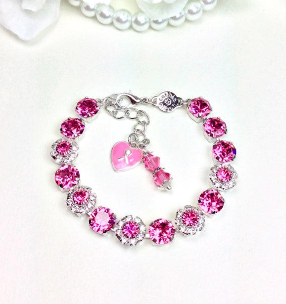"""Swarovski Crystal 8.5mm Bracelet With Flowers - October Tribute to All of the """"Warriors in Pink""""  -Designer Inspired - FREE SHIPPING"""
