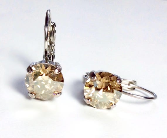 Swarovski Crystal 8.5mm Lever- Back Drop Earrings - Classy - Golden Shadow - OR Choose Your Favorite Color and Finish -  FREE SHIPPING