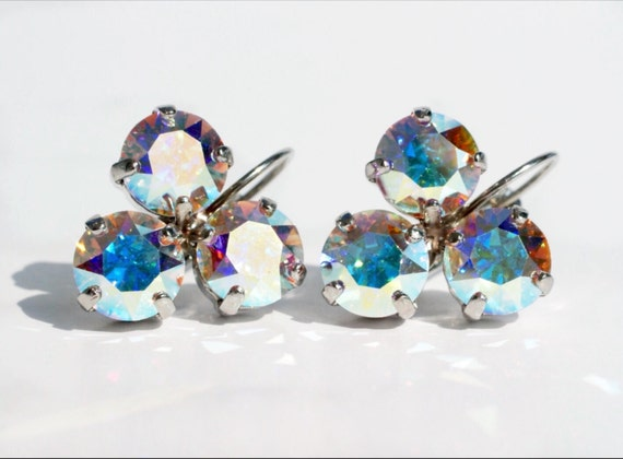 Swarovski Crystal 8.5mm Earrings Three Stone   Lucky Clover Earrings   Aurora Borealis -  FREE SHIPPING