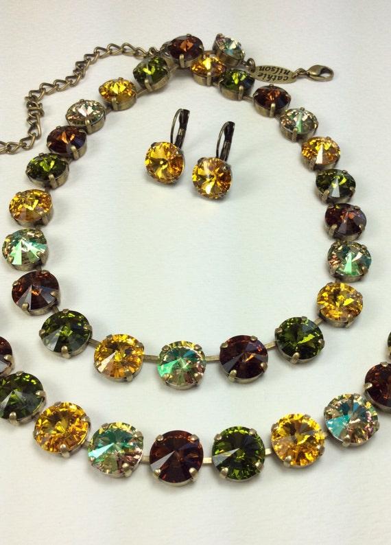"Swarovski Crystal 12MM Necklace, Bracelet & Earrings  - Designer Inspired  ""Autumn Medley""  New Fall Shades - FREE SHIPPING"