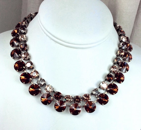 """Swarovski Crystal 12MM Chocolate Brown Necklace and 8.5mm """"Bronzey Brown"""" Necklace - Designer Inspired - Stunning - SALE - FREE SHIPPING"""