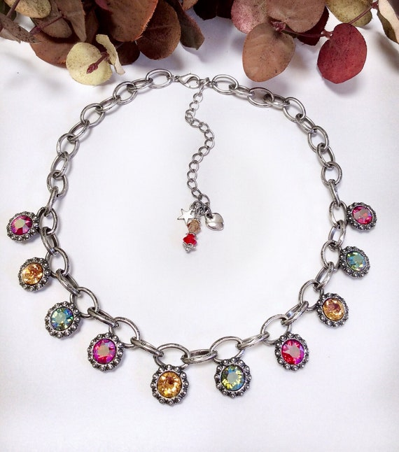 Swarovski Crystal Necklace - Smashing, Chunky Chained,  Stained Glass Colors - All SHIMMER Crystals - Designer Inspired - FREE SHIPPING