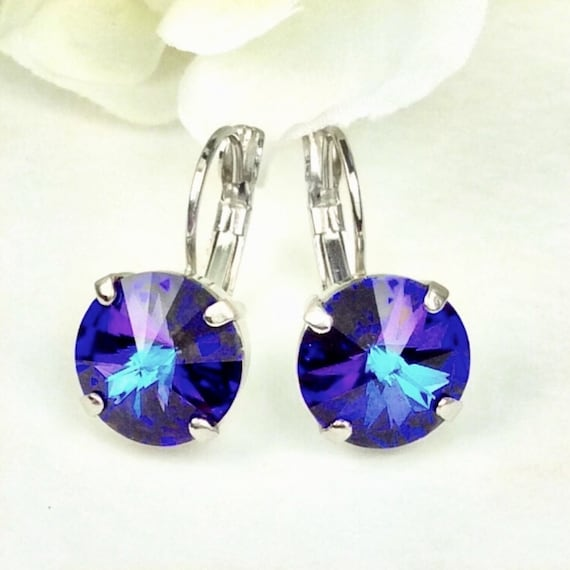 Swarovski Crystal 12MM Drop Earrings Classy & Feminine - Heliotrope - Or Choose Your Favorite Color and Finish - FREE SHIPPING