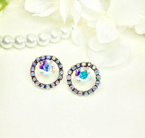 Swarovski Crystal 8.5mm Stud Earrings with Swarovski Crystal Circle Halo -Very Classy - Choose Your Favorite Color  -  FREE SHIPPING