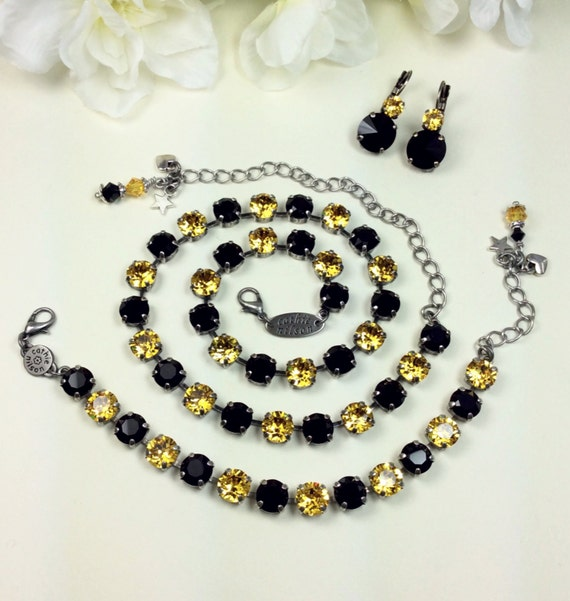 Swarovski Crystal  - Black / Gold Crystal 8.5mmNecklace - Pittsburgh STEELERS, Penguins, & Pirates Colors -Designer Inspired - FREE SHIPPING