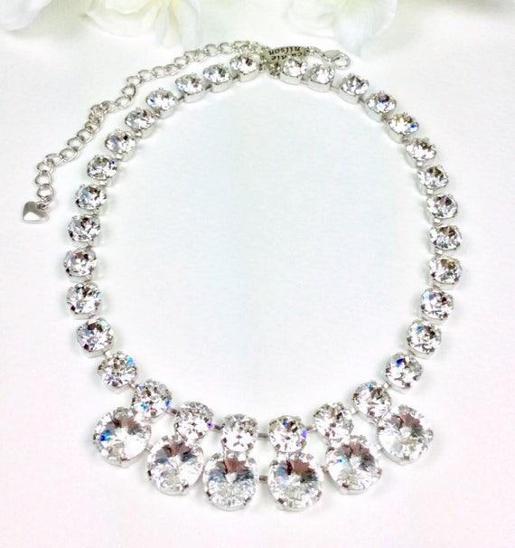 "Swarovski Crystal 12MM/8.5mm - Radiant - ""Goddess"" Necklace - Designer Inspired - FREE SHIPPING  - SALE - Was 85. Now 60."