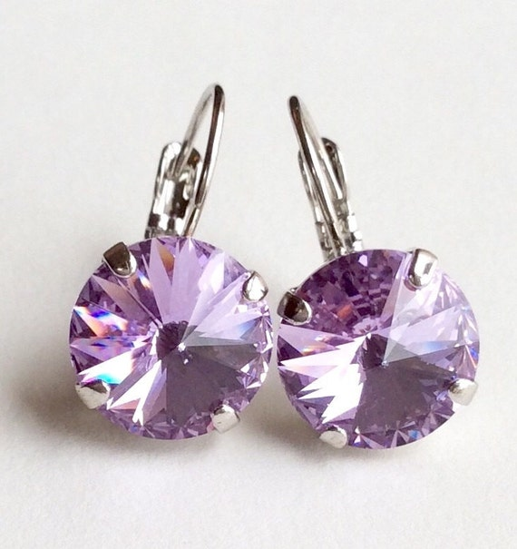 Swarovski Crystal 12MM Drop Earrings Classy & Feminine Look - Violet  - Or Choose Your Favorite Color and Finish - FREE SHIPPING