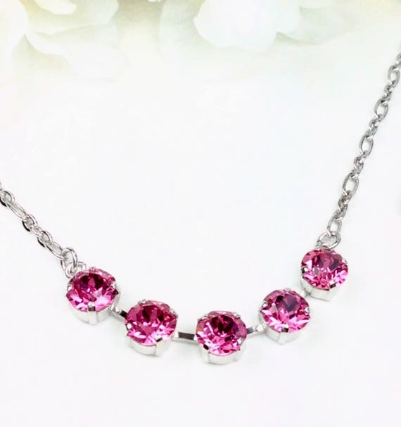 Swarovski Crystal 8.5mm -  FIVE Stone Necklace-  Very Classy - Perfect Bridesmaid Gift!  - Choose Your Favorite Color  -  FREE SHIPPING