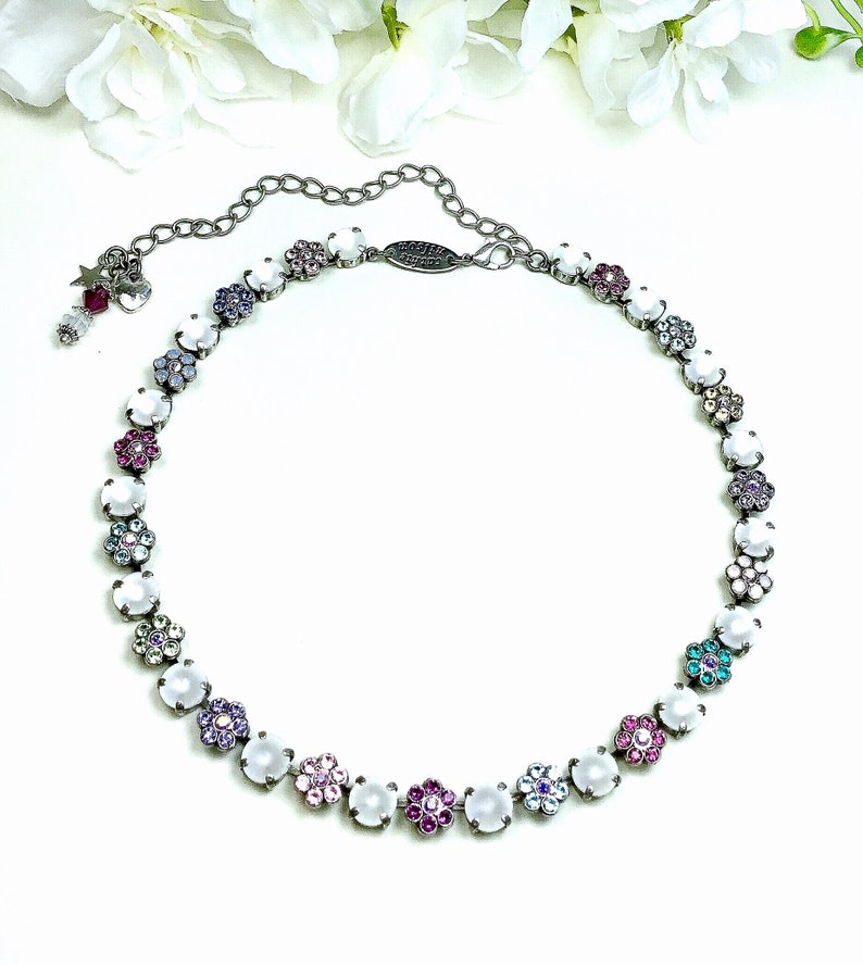 "vasta selezione di 33f33 2ba89 Swarovski Crystal 8.5mm Necklace - ""Pastel Flower Garden"" - Special One Of  A Kind - Multi- Colored - Feminine Flowers - SALE - FREE SHIPPING"