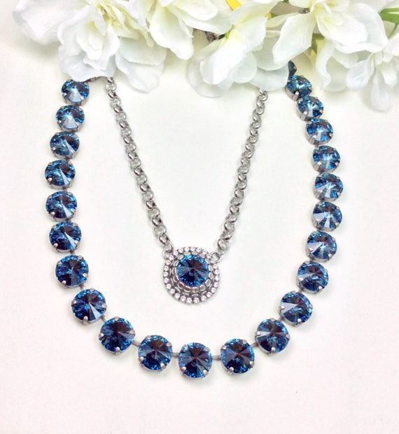 Swarovski Crystal 22MM Denim Blue Medallion - 12mm Swarovski Denim Blue Necklace & Bracelet -  Designer Inspired - FREE SHIPPING