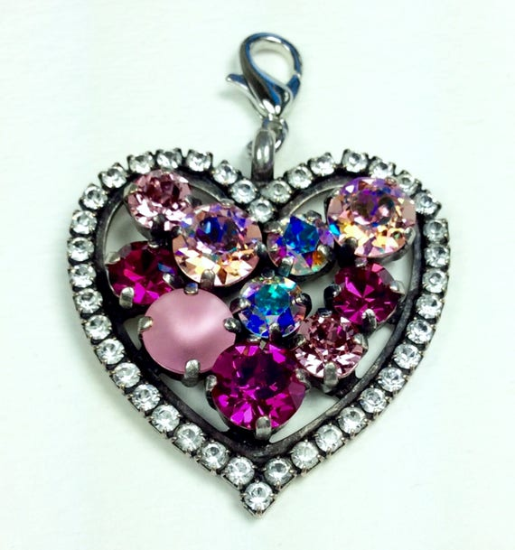 Swarovski Crystal Heart Shaped Add-On Charm Lt. RoseAB  dd19fc0a984a