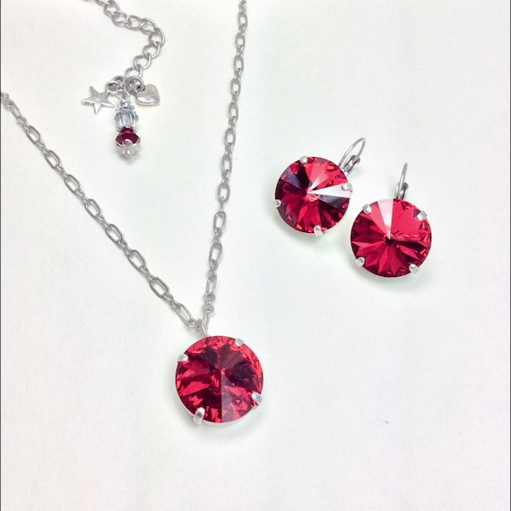 Swarovski Crystal 18MM Scarlet MEGA Drop Earrings & Matching 18MM Scarlet Pendant -Big and Beautiful - Perfect Classy Jewelry -FREE SHIPPING