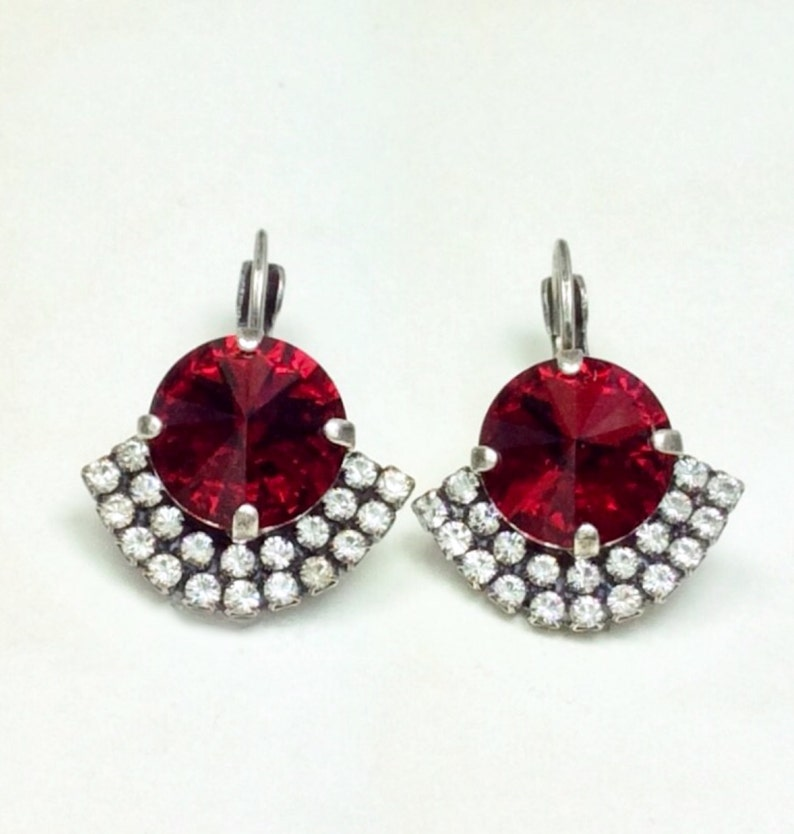 ab4eb6c956a9e Swarovski Crystal 12MM Drop Earrings Ruby Red Drop Earrings With Art Deco  Flair Pure Sophistication - FREE SHIPPING