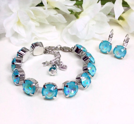 Swarovski Crystal 10MM Bracelet - Special Custom Coated ULTRA Turquoise Crystal Bracelet & Earrings -FREE SHIPPING - Now On Sale !