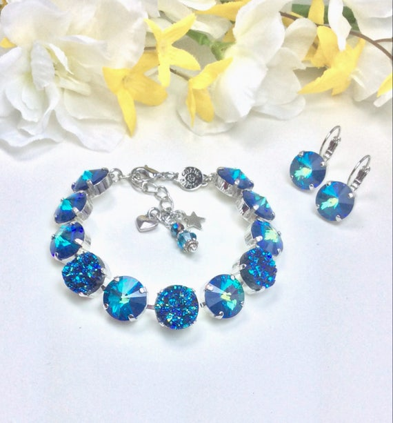 Swarovski Crystal  12MM and ( Faux) Blue Green Druzy Bracelet & Earrings - Designer Inspired - Beautiful Glowing Iridescence - FREE SHIPPING