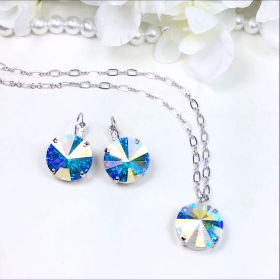 Swarovski Crystal 18MM Drop Earrings and Matching 18MM - One Stone Pendant  -Big and Beautiful AB - Stunning- FREE SHIPPING