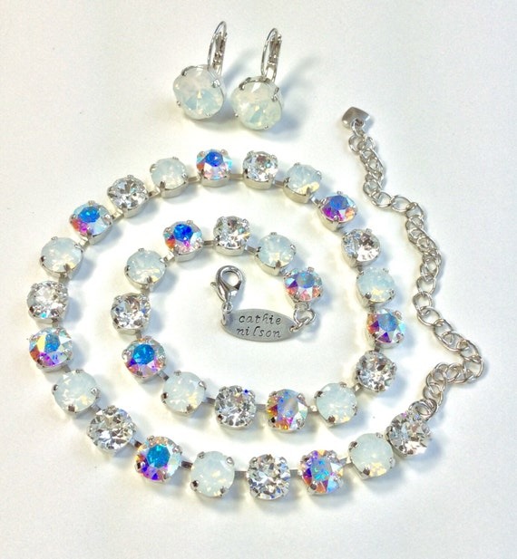 "Swarovski Crystal 8.5mm Necklace  - Designer Inspired -"" Bridal Whites ""    Crystal, White Opal and Aurora Borealis - FREE SHIPPING"