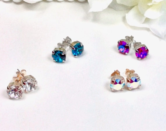 Swarovski Crystal 3PAIR of 8.5mm Stud Earrings - Classy -Choose Your Favorite Color and Finish  - Super SALE - 3 for 30.   FREE SHIPPING