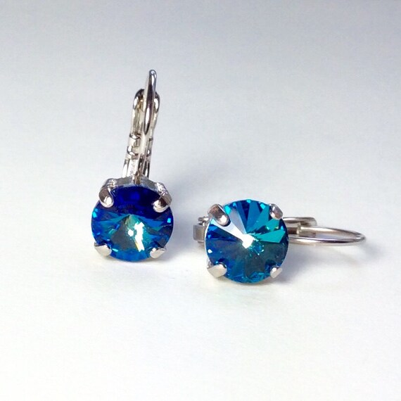 Swarovski Crystal 8.5mm Lever- Back Drop Earrings - Classy - Bermuda Blue   Choose Your Favorite Finish And   - FREE SHIPPING