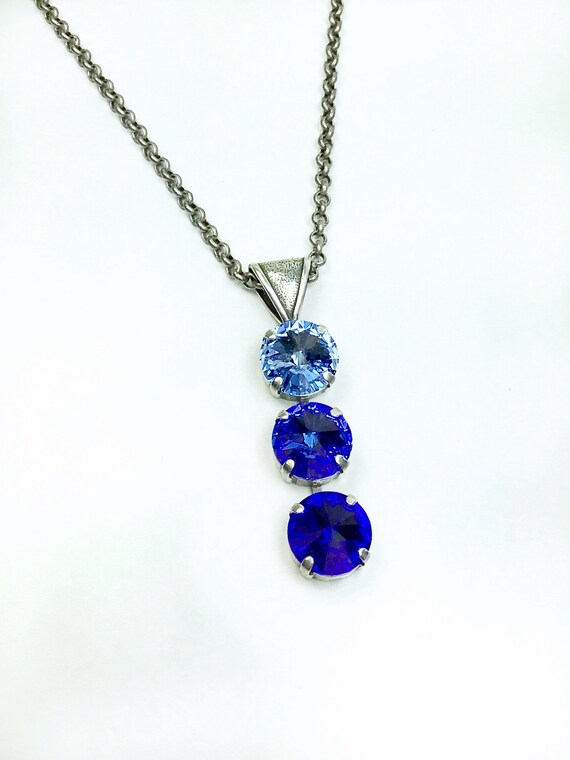 "Swarovski Crystal Necklace - 12MM Triple ""Y"" Shape - Lt. Sapphire,Sapphire Blue Ombré - Designer Inspired -Sparkle &Shimmer - FREE SHIPPING"