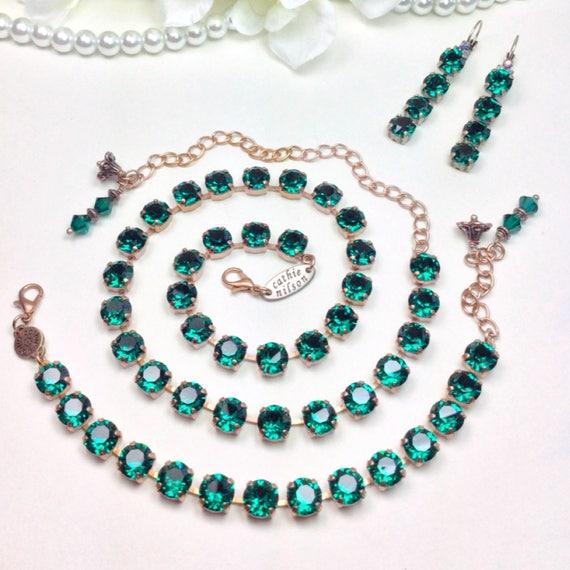 Swarovski Crystal 8.5mm Necklace / Bracelet / Earrings - Designer Inspired  - Gorgeous - Jewel-Color - Emerald Green - FREE SHIPPING