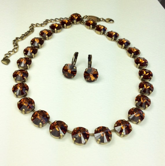 Swarovski Crystal 12MM Smoked Topaz - (Chocolate Brown) Necklace & Earrings - Designer Inspired  -  Gorgeous! - FREE SHIPPING