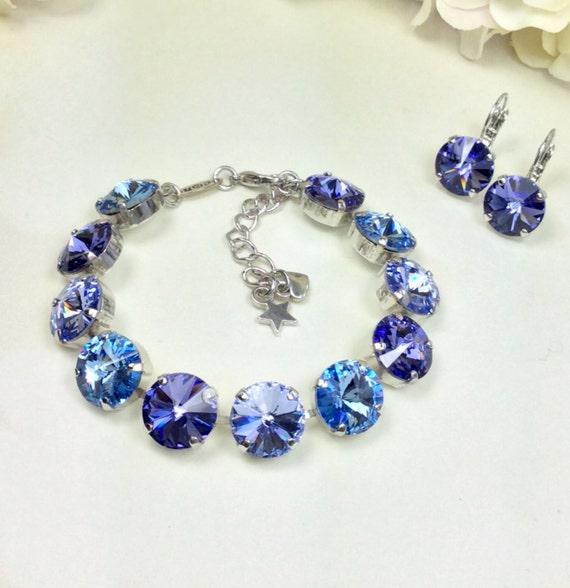 Swarovski Crystal 12MM Bracelet & Earrings  Tanzanite, Lavender,  Lt. Sapphire Blue - Designer Inspired - Lavender Blues   -  FREE SHIPPING