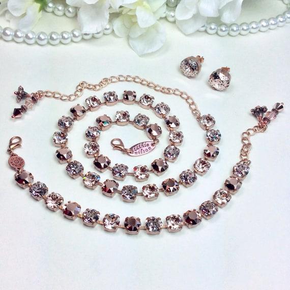 Swarovski Crystal Necklace  - Stunning Gorgeous Colors- 8.5mm Rose Gold, Rose Patina, & Lt. Silk - Designer Inspired  - FREE SHIPPING