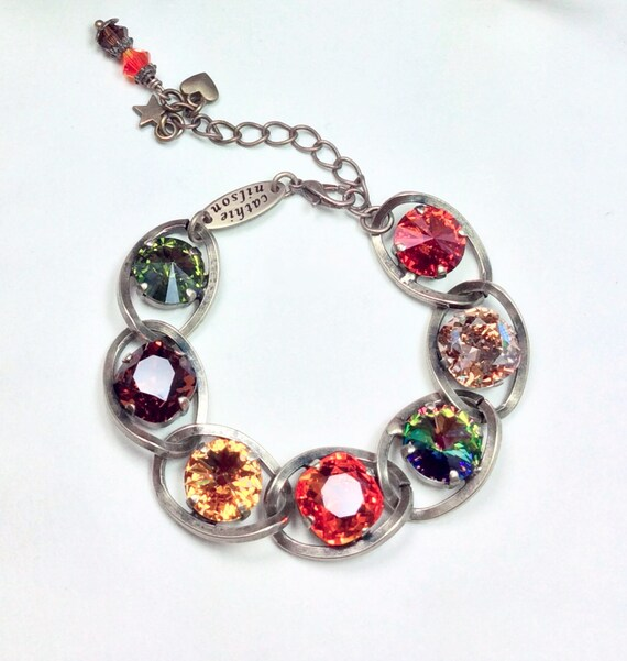 """Swarovski Crystal 12MM Bracelet - Designer Inspired - Chunky Chain & Sparkling Autumn Colors - Your """"Go To""""  Fall Accessory - FREE SHIPPING"""