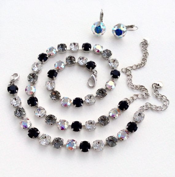Swarovski Crystal 8.5mm Necklace & Bracelet -  Designer Inspired - CLASSY - Jet,Crystal, Black Diamond, Aurora Borealis - FREE SHIPPING