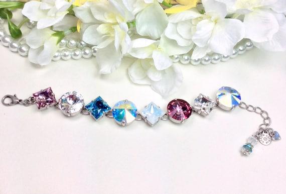 """Swarovski Crystal """"Big Bling"""" 16mm(!) and 12mm Princess Squares Bracelet - Designer Inspired - Sparkling Summery Colors - FREE SHIPPING"""