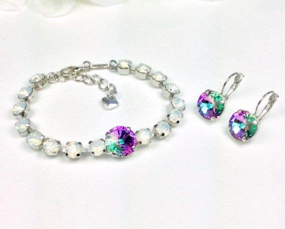 Swarovski Crystal 12MM & 6MM Bracelet - Designer Inspired - White Opal/Vitrail Light - Price Slashed - SALE  25. - FREE SHIPPING