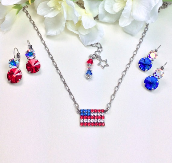 "Swarovski Crystal "" Stars & Stripes ""  Pendant Necklace and Earrings-""  Bright Red, AB, and Sapphire Blue - FREE SHIPPING"