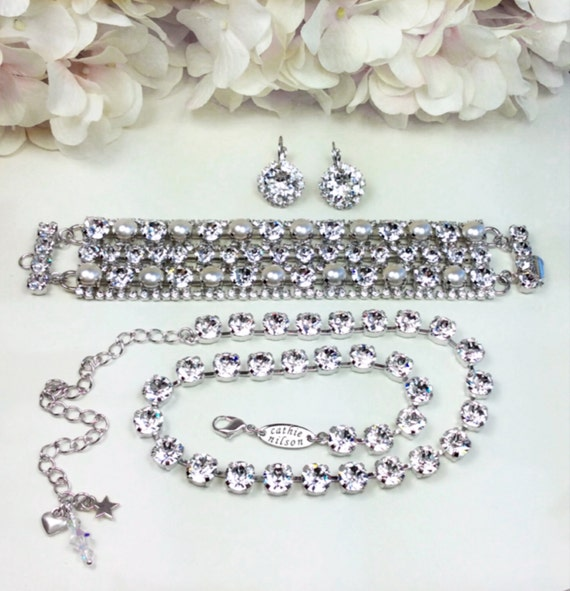 "Swarovski Triple Row Crystal & Pearl Cuff Bracelet, Earrings and Necklace  ""Bridal Suite"" -  Stunning Bridal Jewelry  FREE SHIPPING"