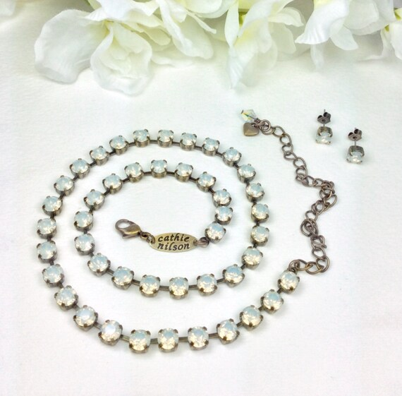 Swarovski Crystal Necklace -  Designer Inspired -  Dainty 6mm White Opals- Bridesmaid Gift